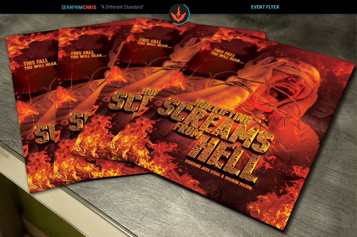 Screams from Hell Movie Poster ane Flyer Photoshop Template example image 3