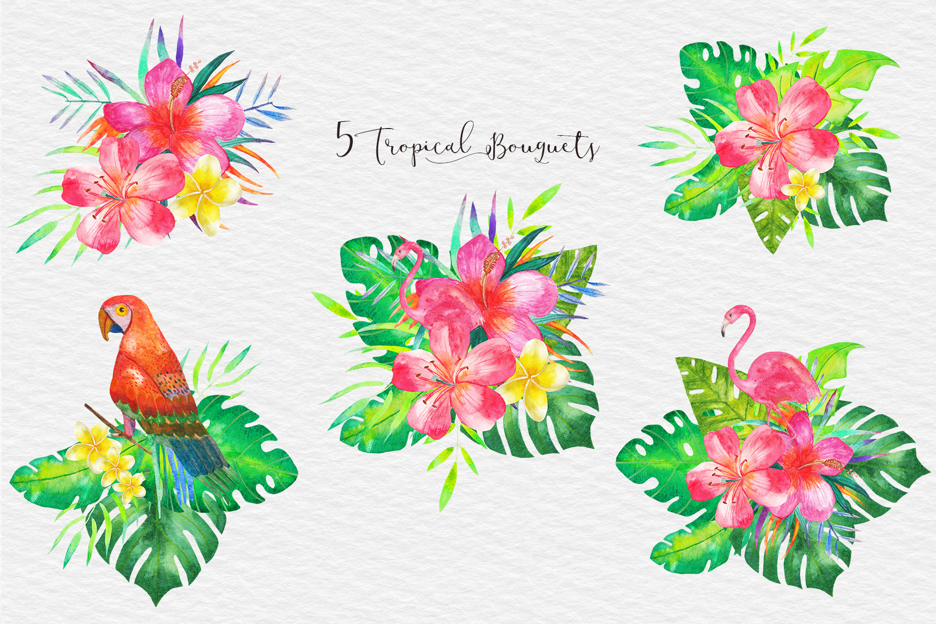 Watercolor Tropical Clipart, Tropical Seamless Patterns example image 4