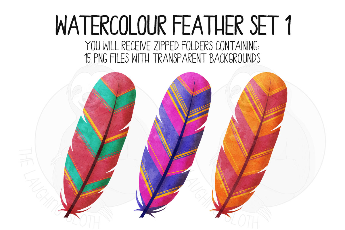 Watercolor Bright Feather Clip Art Set 1 example image 3