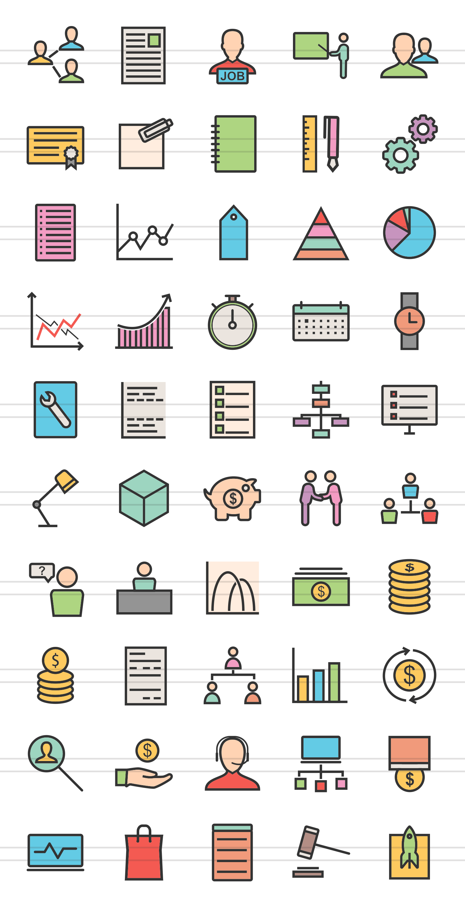 50 Business Management Linear Multicolor Icons example image 2