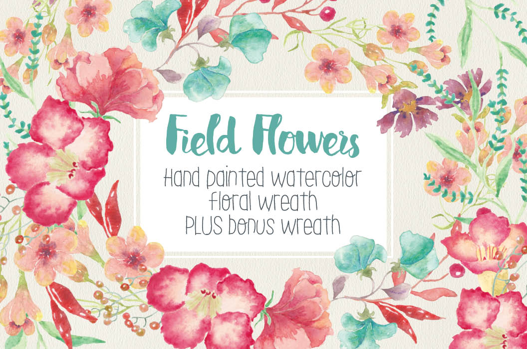 Watercolor wreath of field flowers example image 1