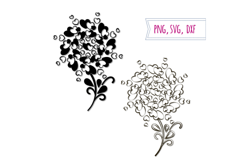 2 Hearts trees svg. Love clipart. Wedding clip art example image 1