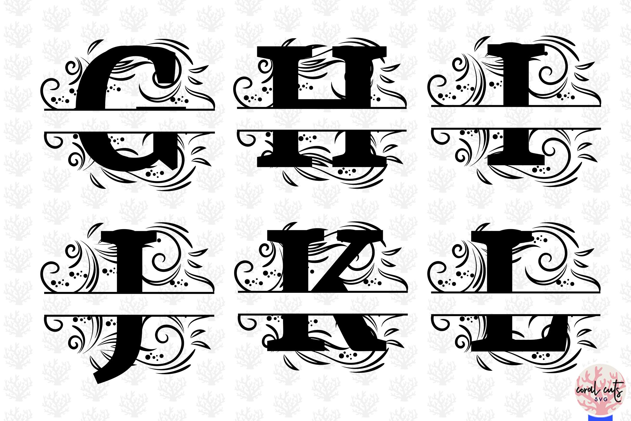 Floral Split Alphabet Monogram - Svg EPS DXF PNG File example image 3