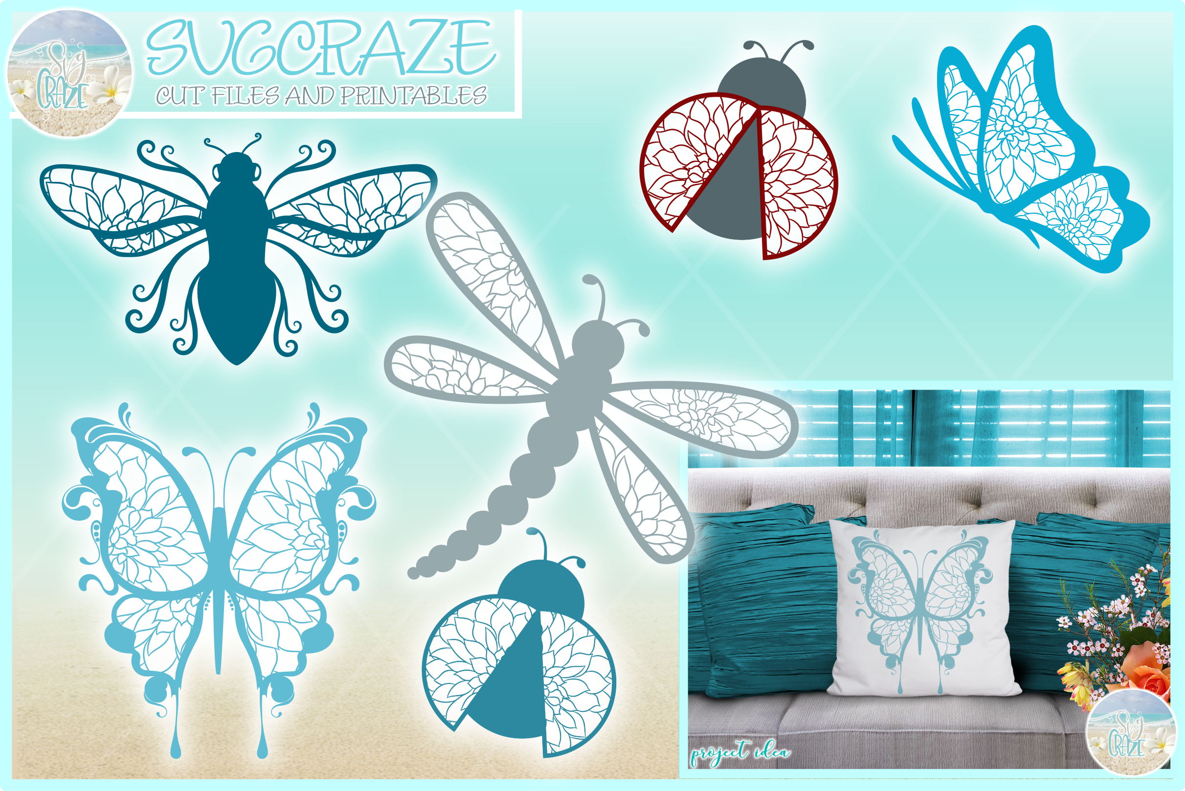 Flying Insect Mandala Zentangle Bundle Svg Dxf Eps Png Pdf F example image 1