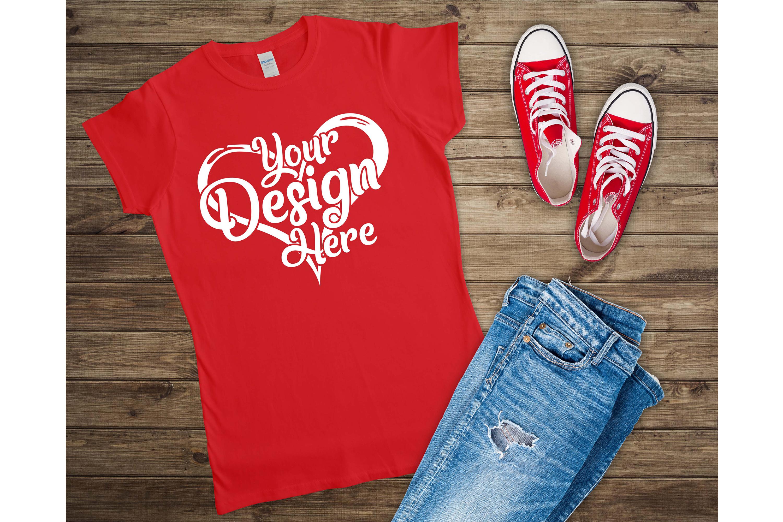 Gildan Ladies T-Shirt Mockup Mega Bundle Flat Lay 64000L example image 23