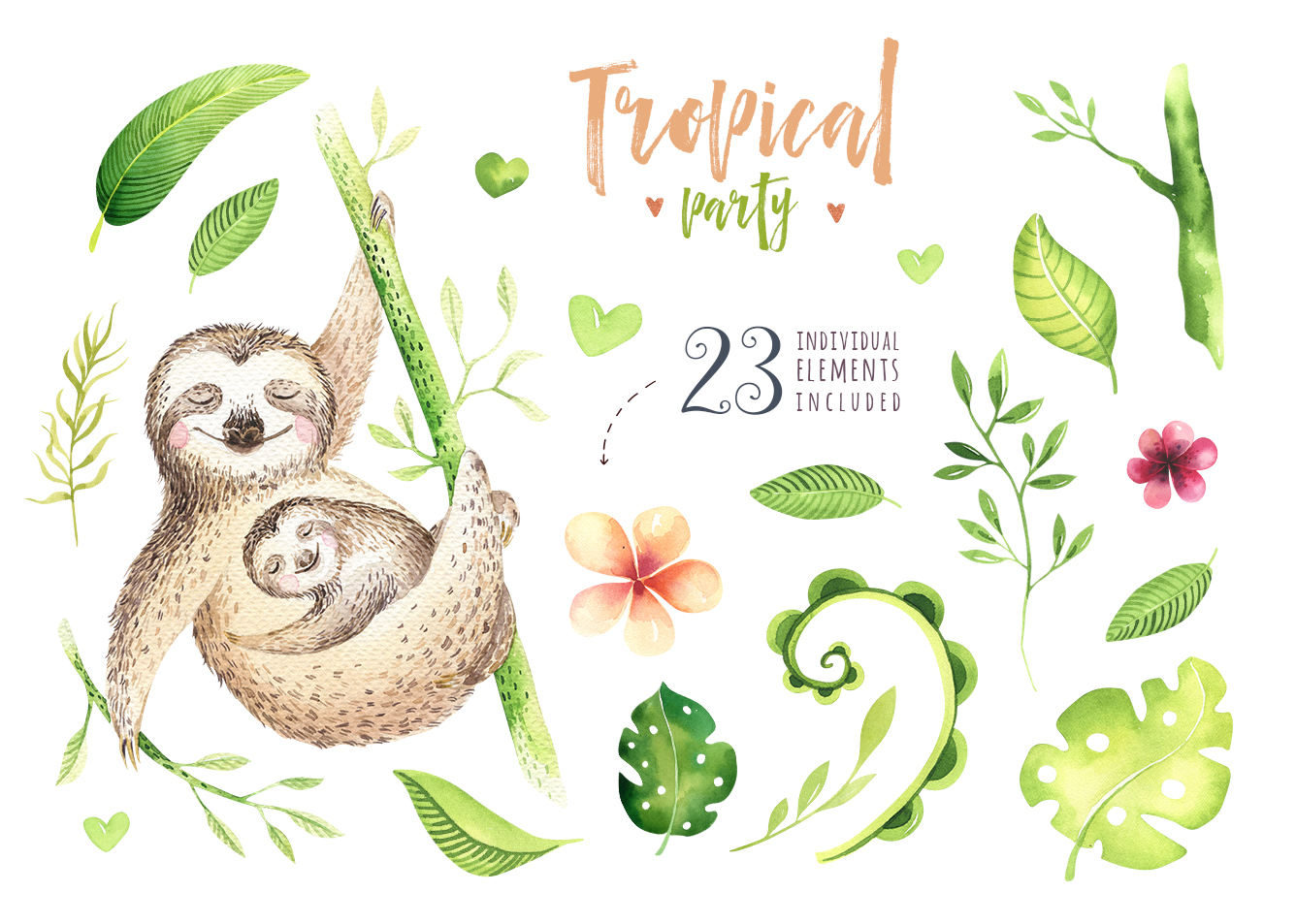 Tropical party III.Sloth collection example image 3