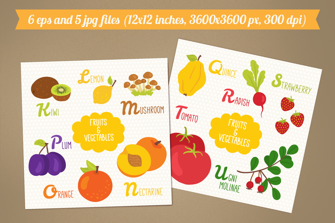 Alphabet with Fruits and Vegetables example image 3