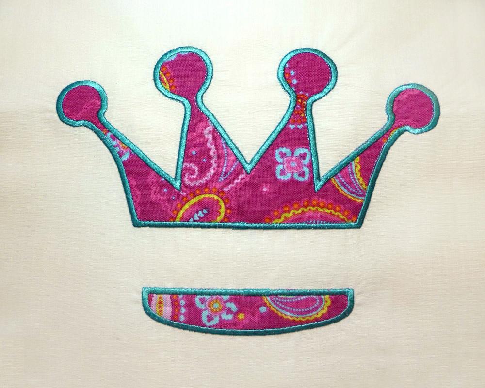 Princess Crown Split Applique Embroidery Design example image 3