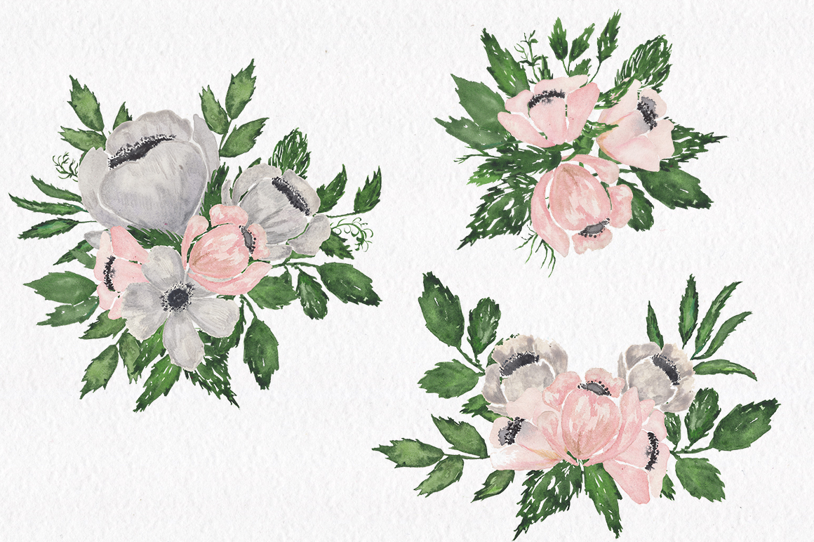 Gray and Pink Blooming. Watercolour clipart collection. example image 4
