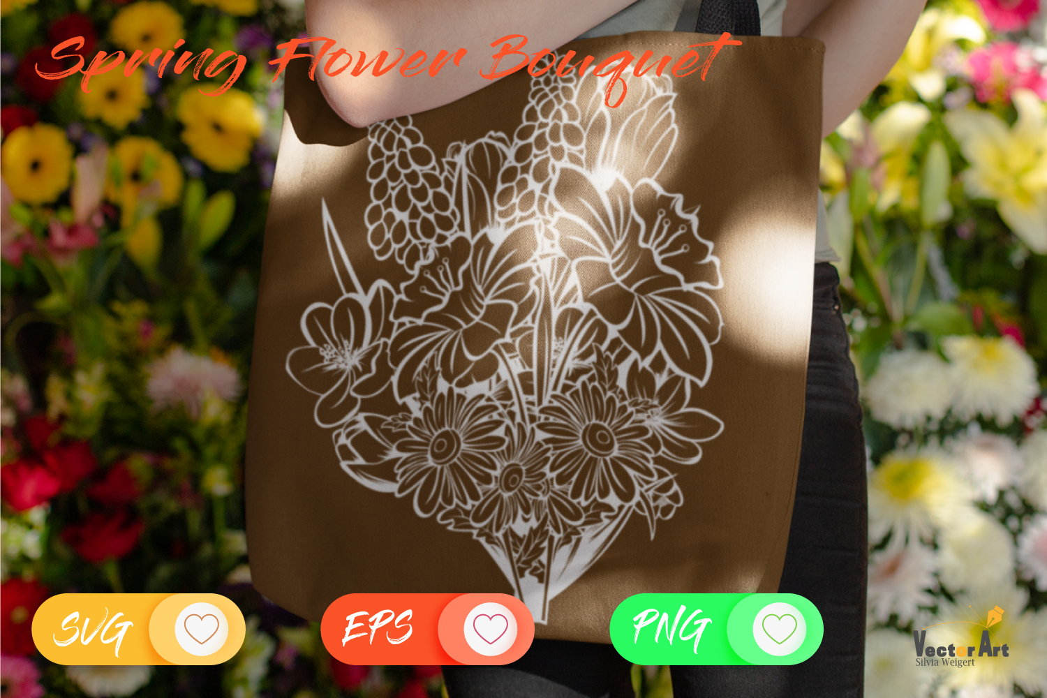 Spring Flower Bouqet - Cut File with 2 Layers example image 3