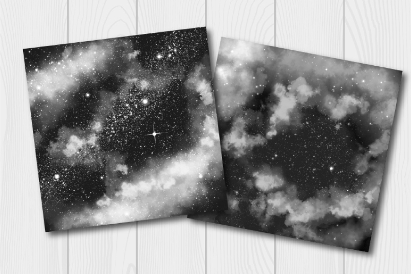 Monochrome watercolor galaxy digital paper. Cloudy textures example image 5