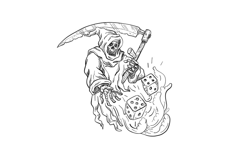 The Grim Reaper Rolling the Dice Drawing Black and White example image 1