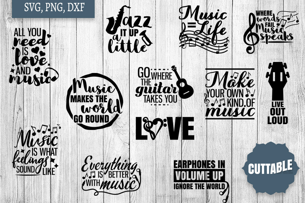 Music cut file Bundle, Musician quote SVGs, Musicial SVGs example image 1