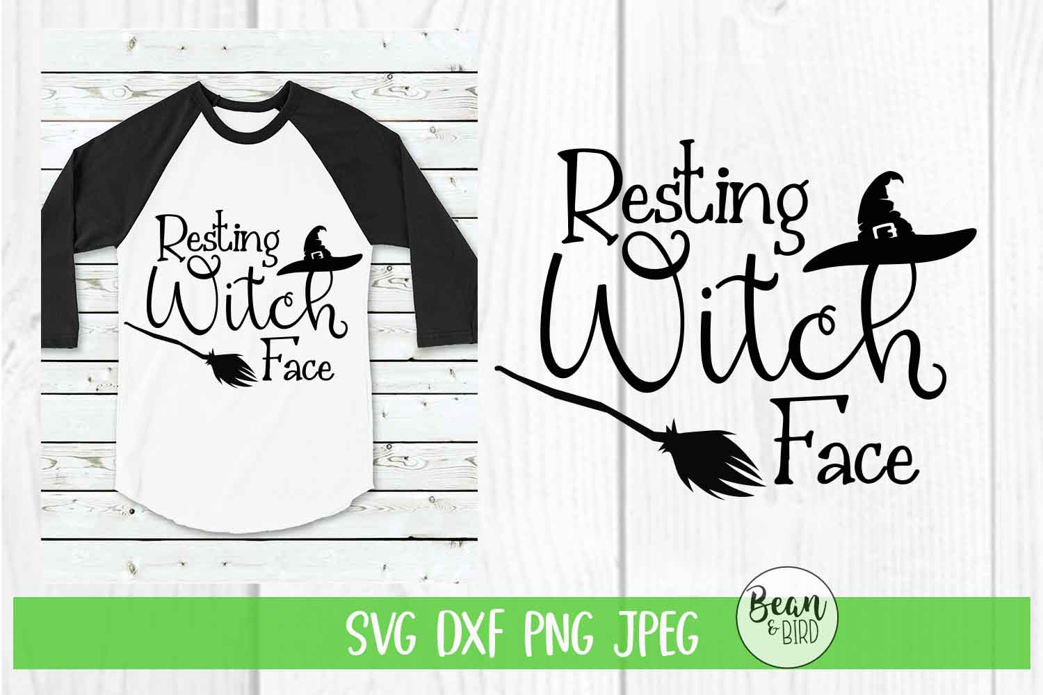 Resting Witch Face Halloween SVG example image 1