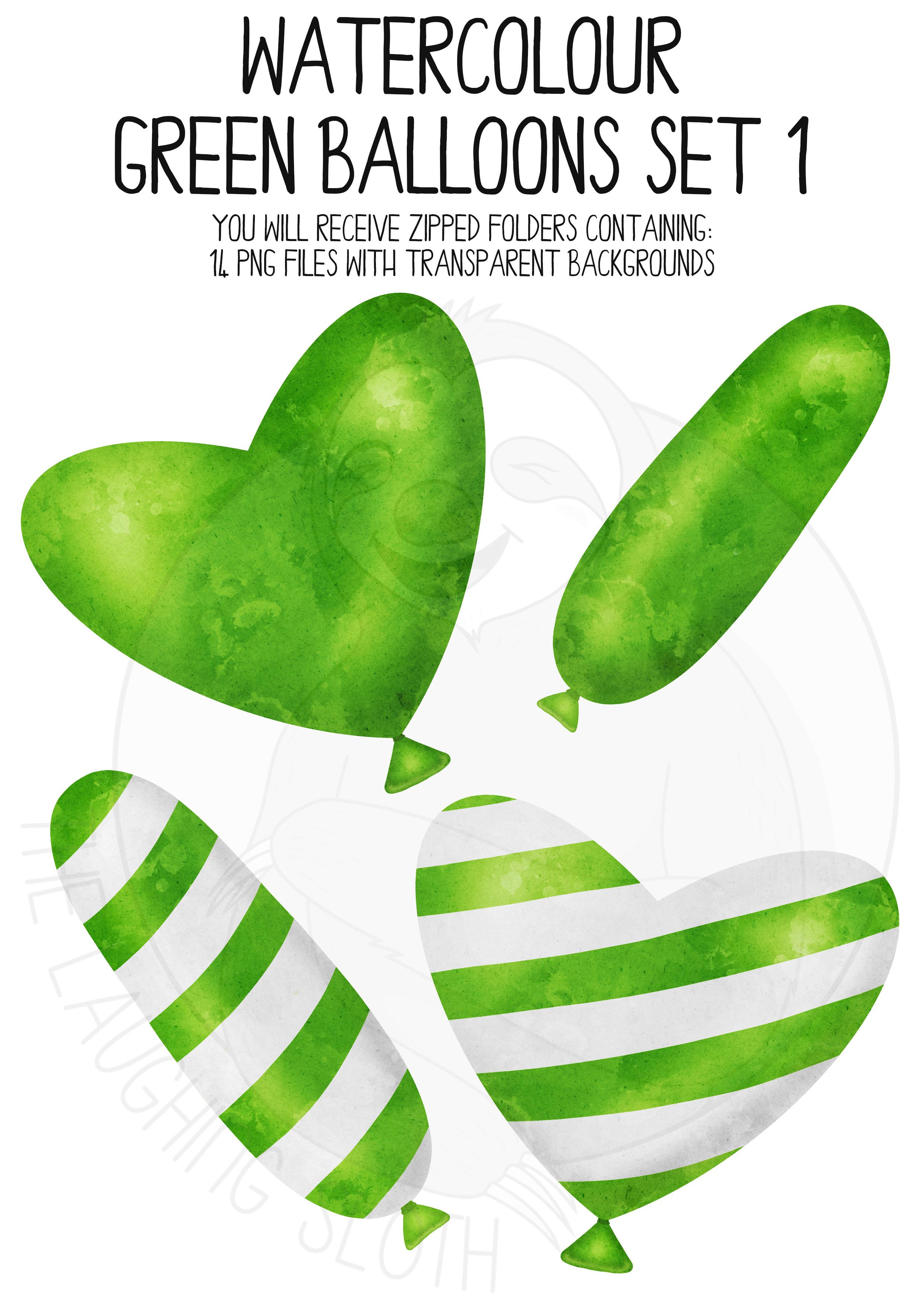 Green Watercolor Balloon Clipart Set example image 2