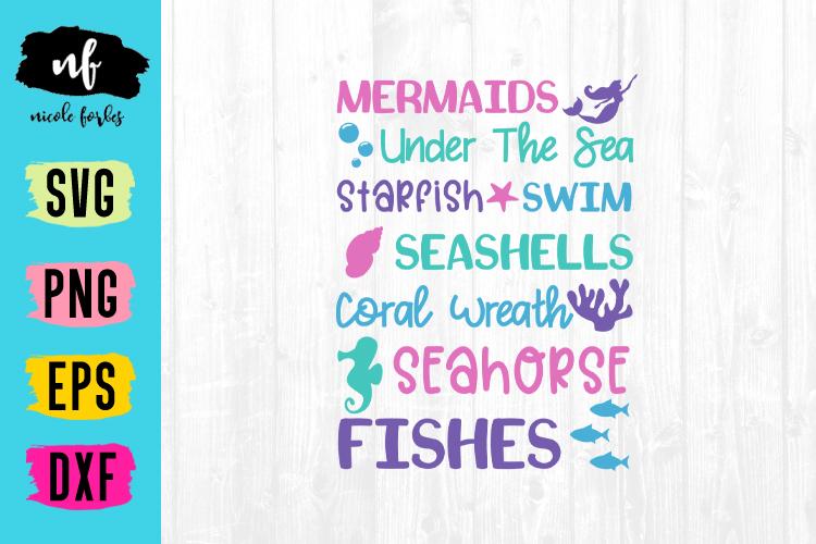 Mermaid Subway Art SVG Cut File example image 1
