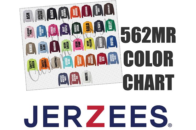 Jerzees 562MR Crewneck Sweatshirt Color Chart example image 1
