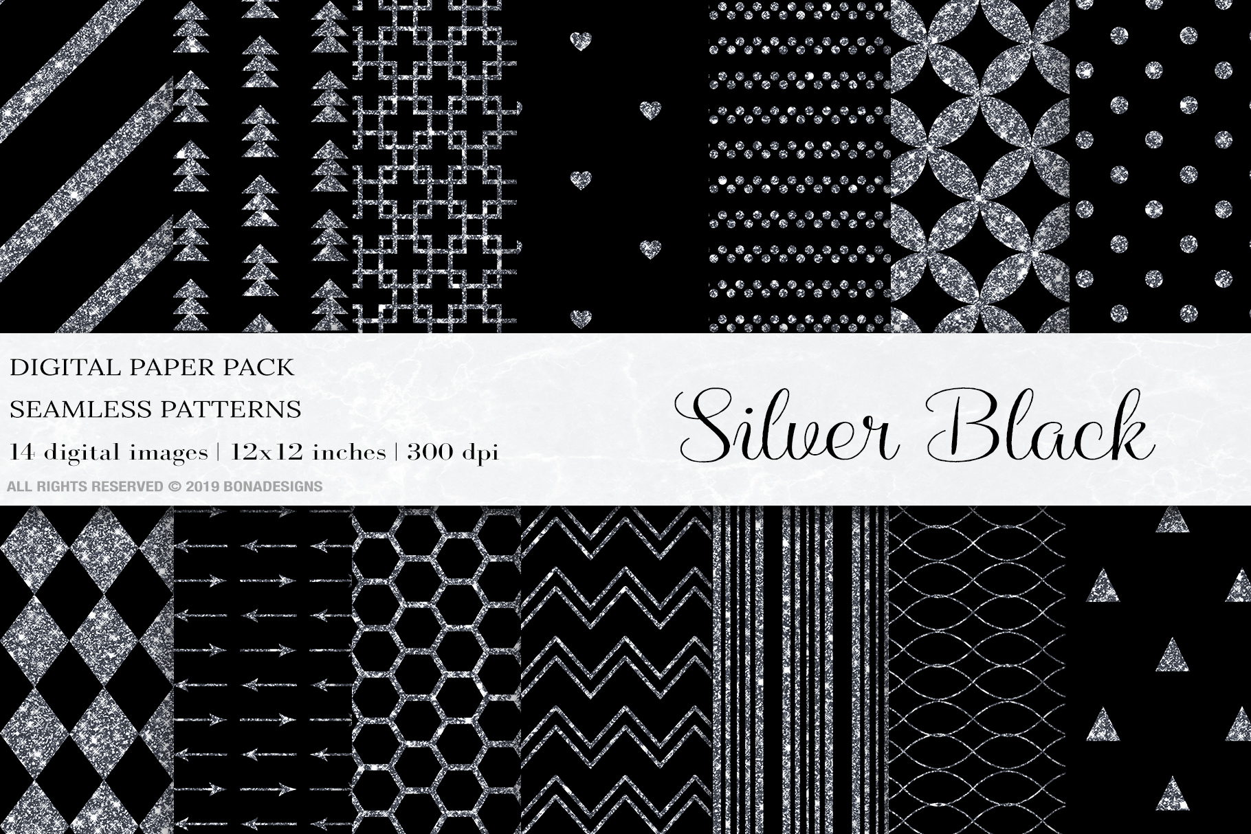 Silver Black Digital Papers, Silver Seamless Pattern Wedding example image 1
