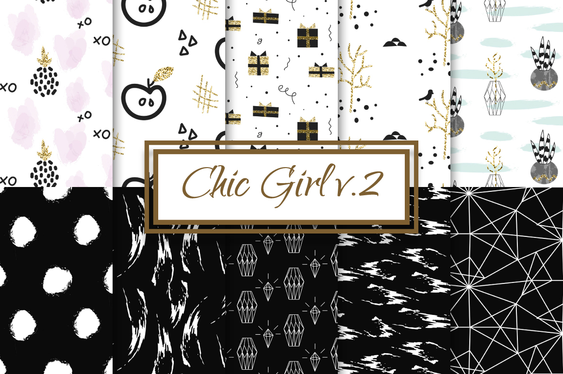 Chic Girl v2. - seamless patterns example image 1