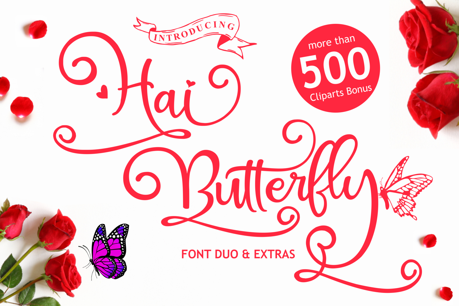 Hai Butterfly Font Duo and 500 Vectors example image 1