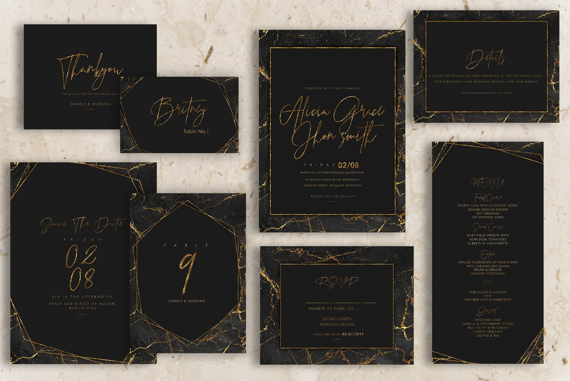 Gold Black Marble Wedding Invitation example image 1