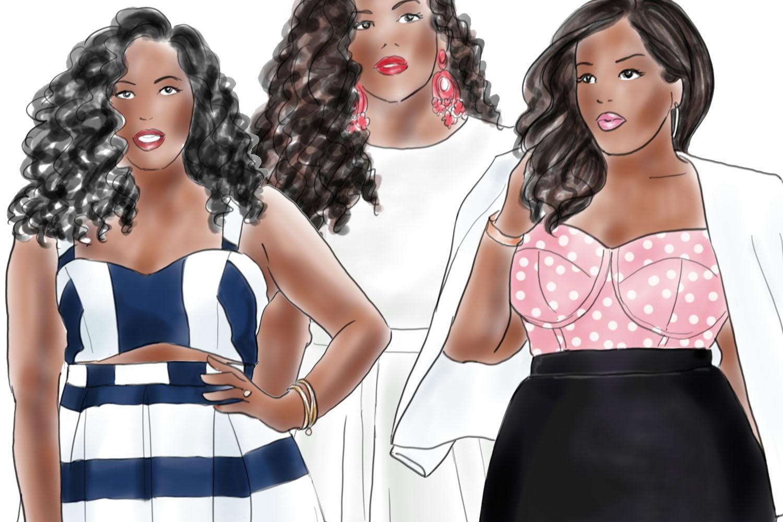 Fashion illustration clipart - Curvy Girls - Dark skin example image 2