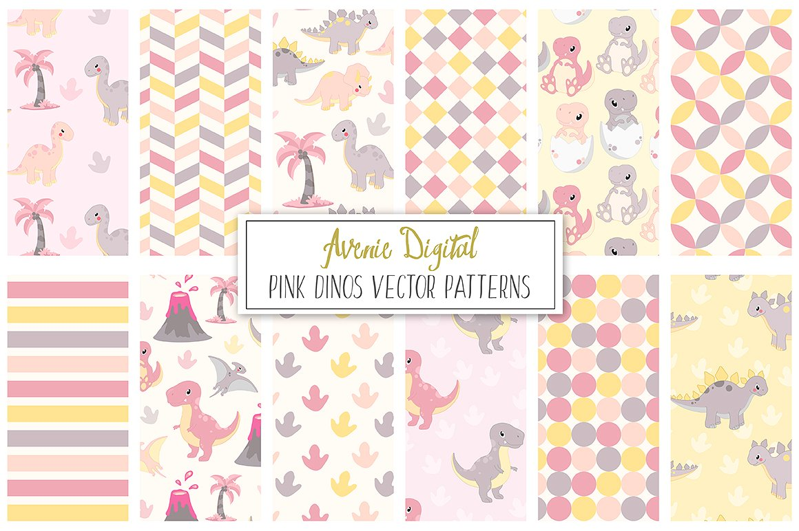 Cute Pink Dinosaur Seamless Digital Paper and Vector Patterns example image 1