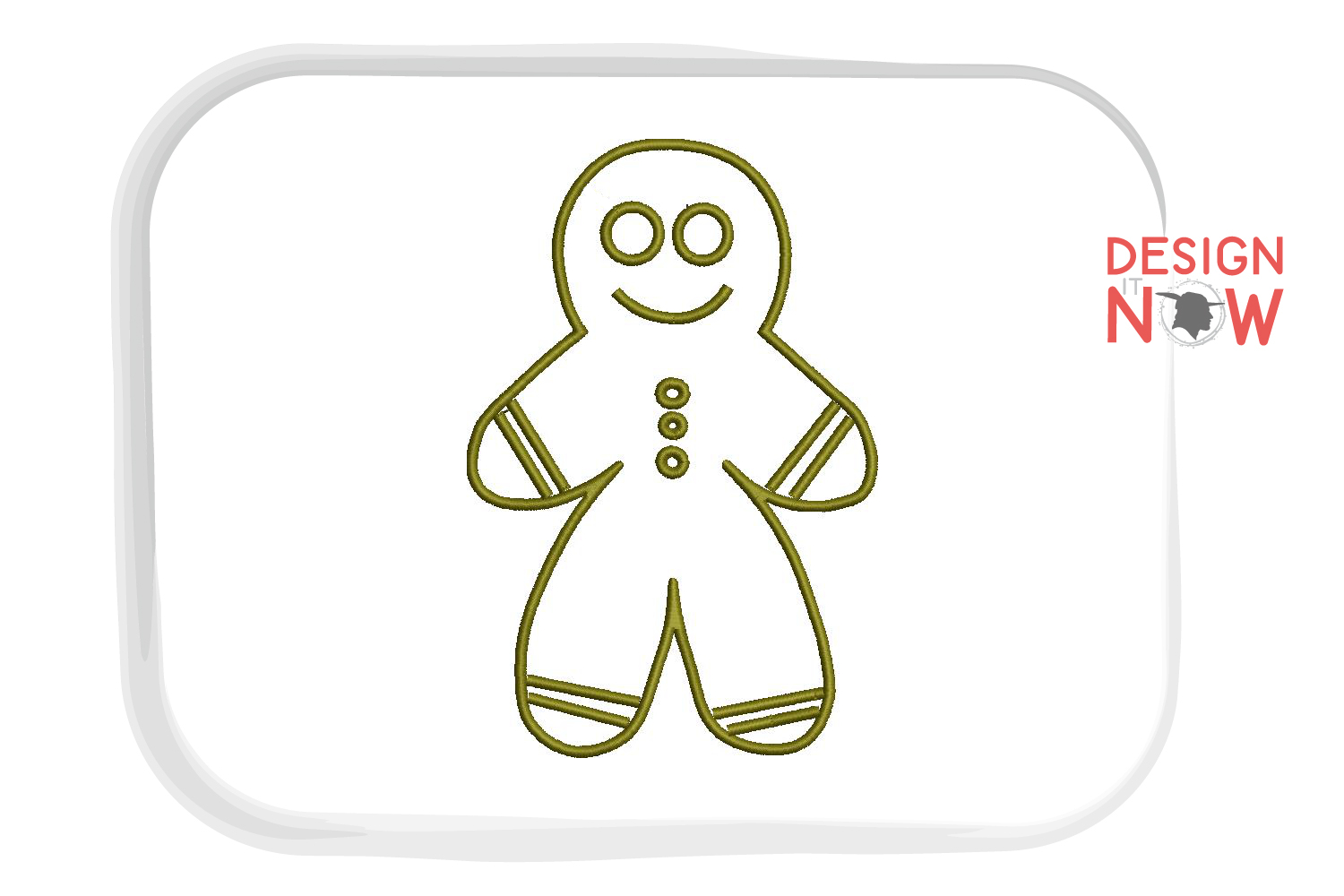 Gingerman Applique Embroidery Design, Christmas Embroidery example image 2