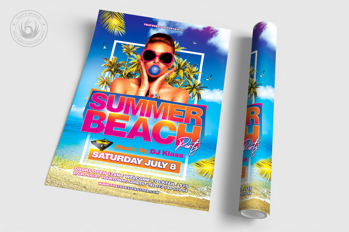 Summer Beach Flyer Template V4 example image 3