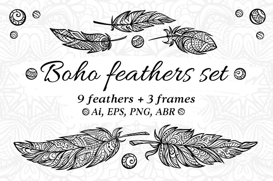 Boho feathers set example image 1
