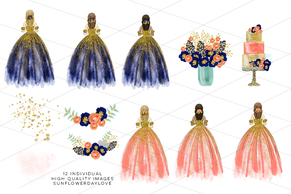 Princess Clipart, New Year Party Clip Art example image 3