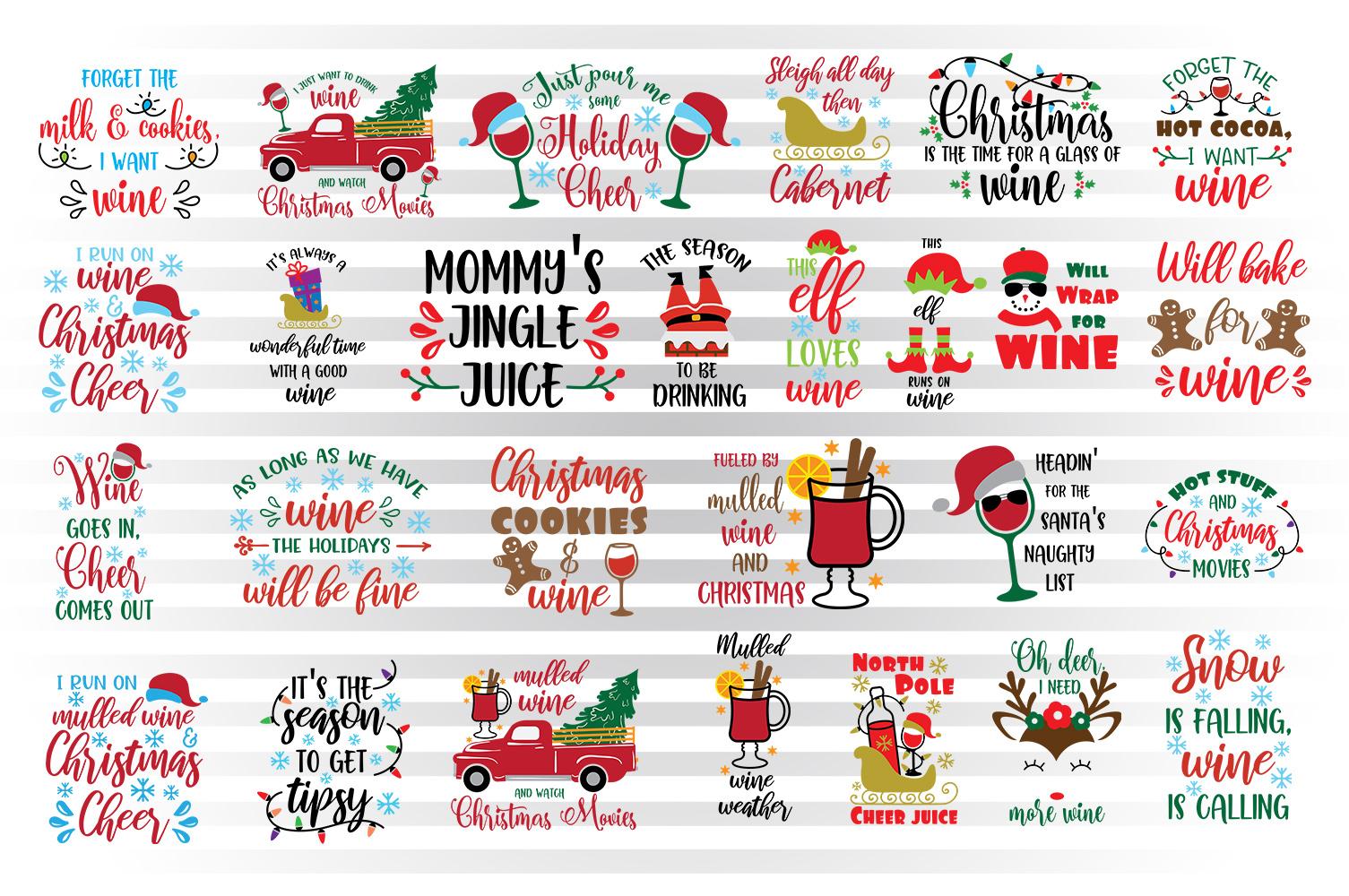 Christmas wine svg bundle example image 1