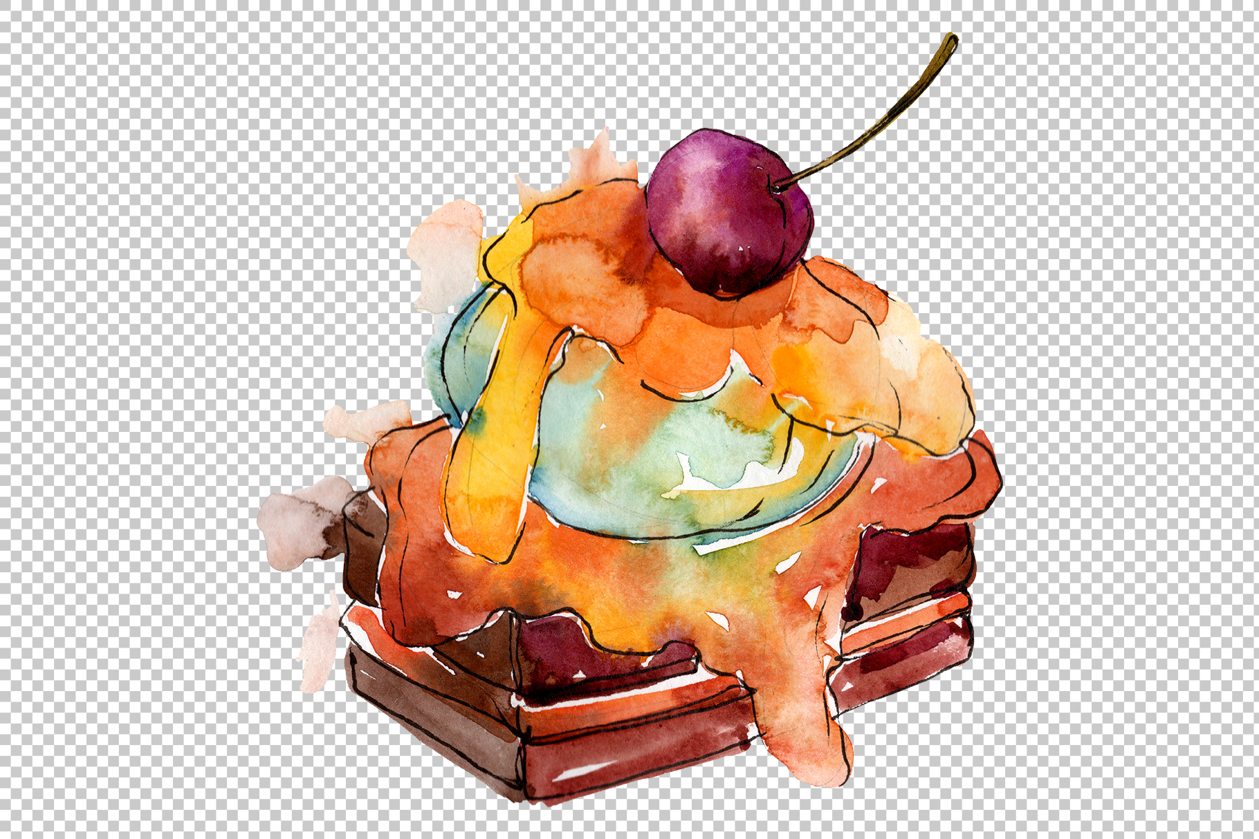 Dessert Appetizing Watercolor png example image 2