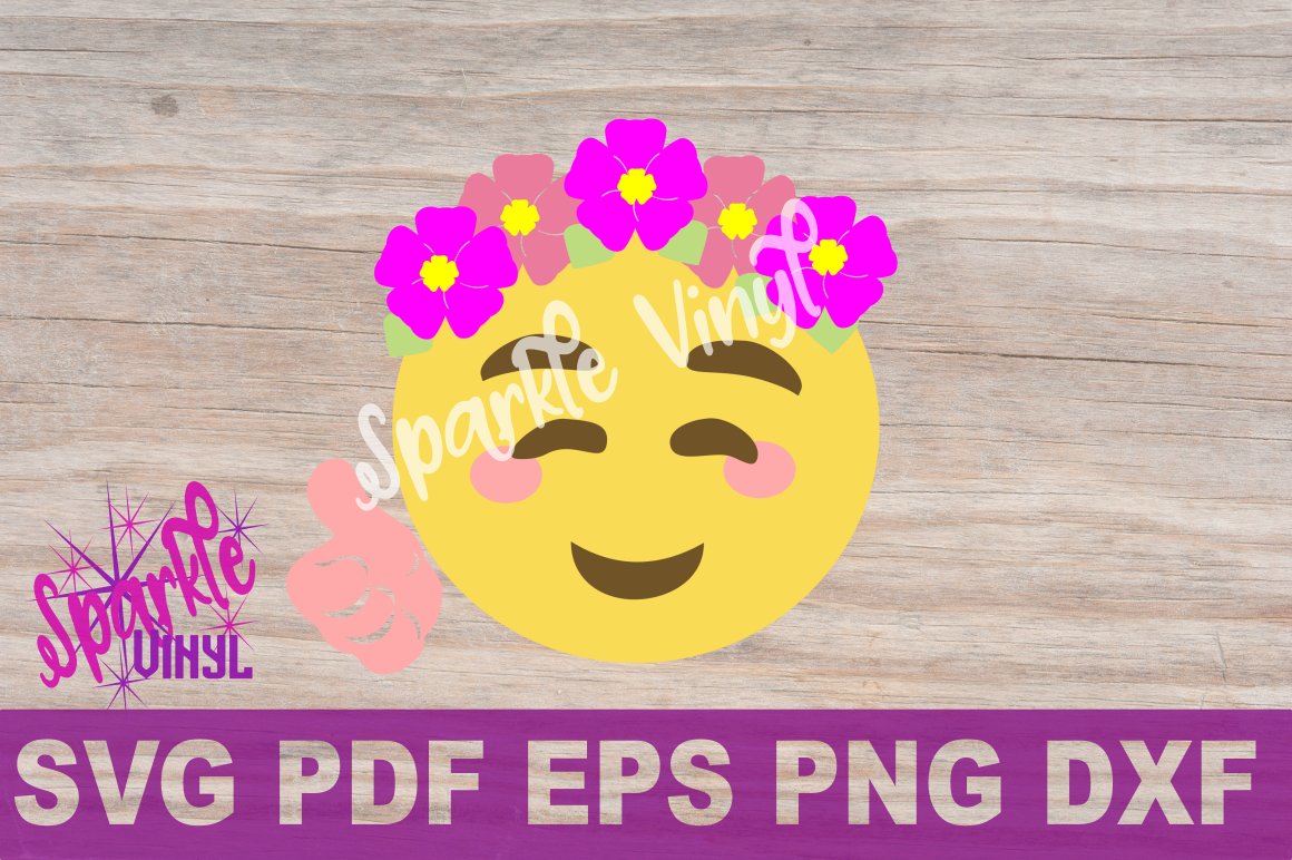 SVG Emoji Smile Flowers Thumbs Up shirt sign printable cut file svg dxf eps png for cricut or silhouette example image 4