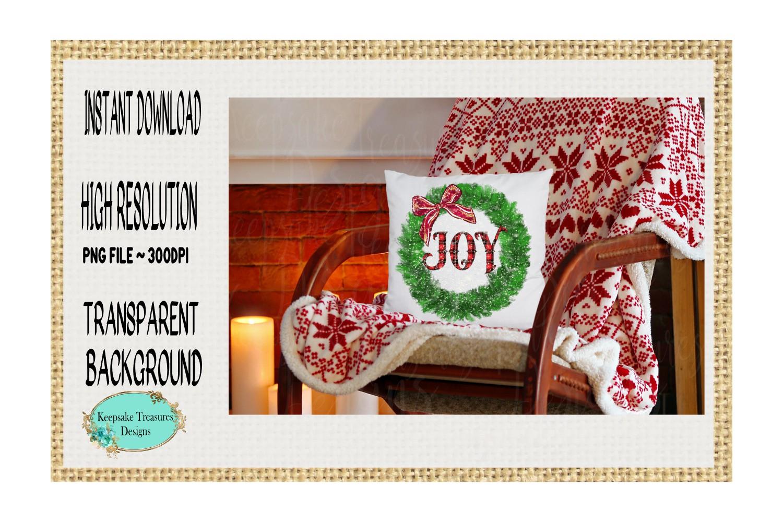 Joy Pine Wreath, Sublimation Design example image 2