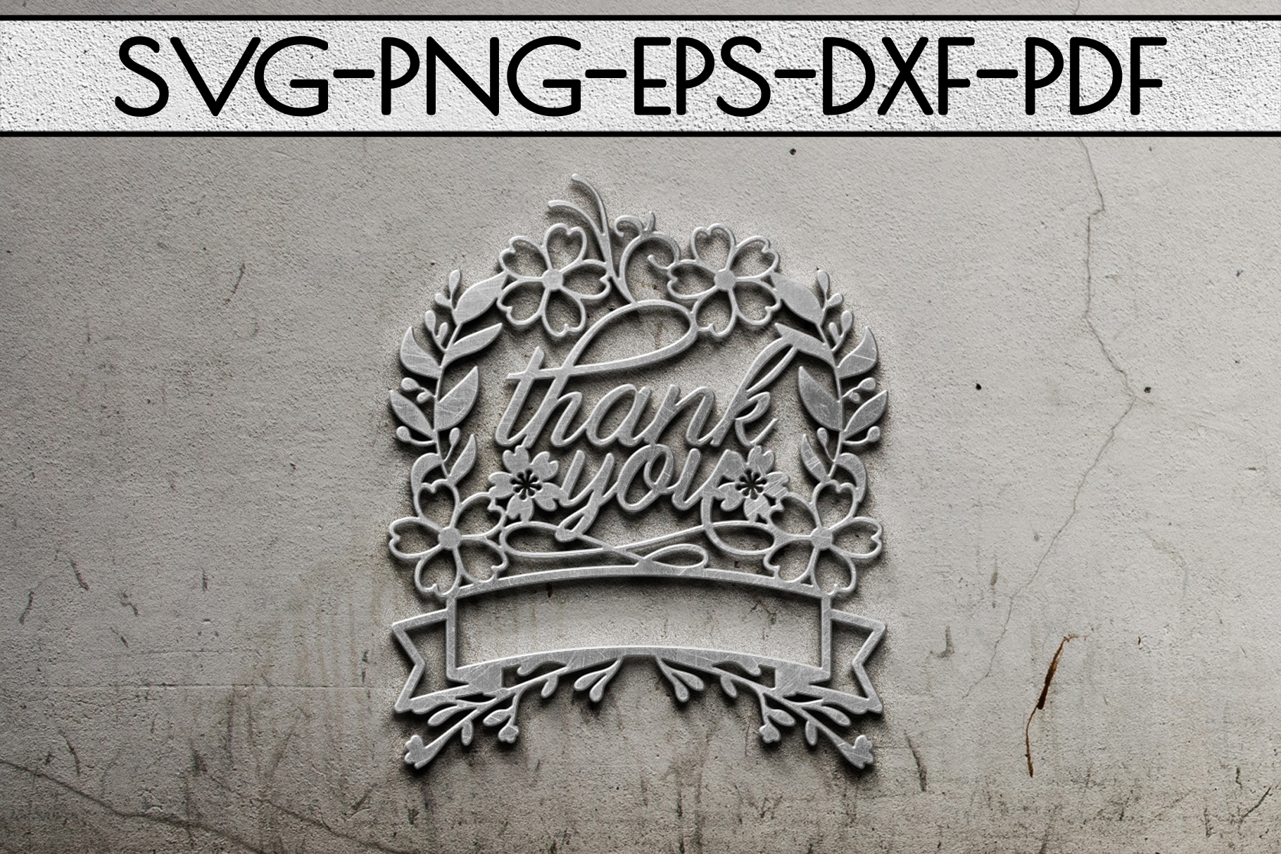 Thank You 8 Papercut Template, Customizable, SVG, PDF, DXF example image 2