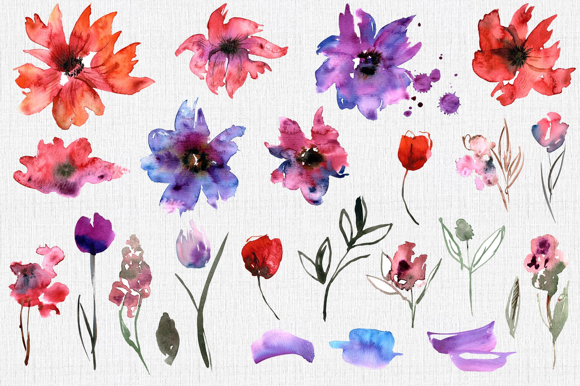 Watercolor Purple Flowers example image 4