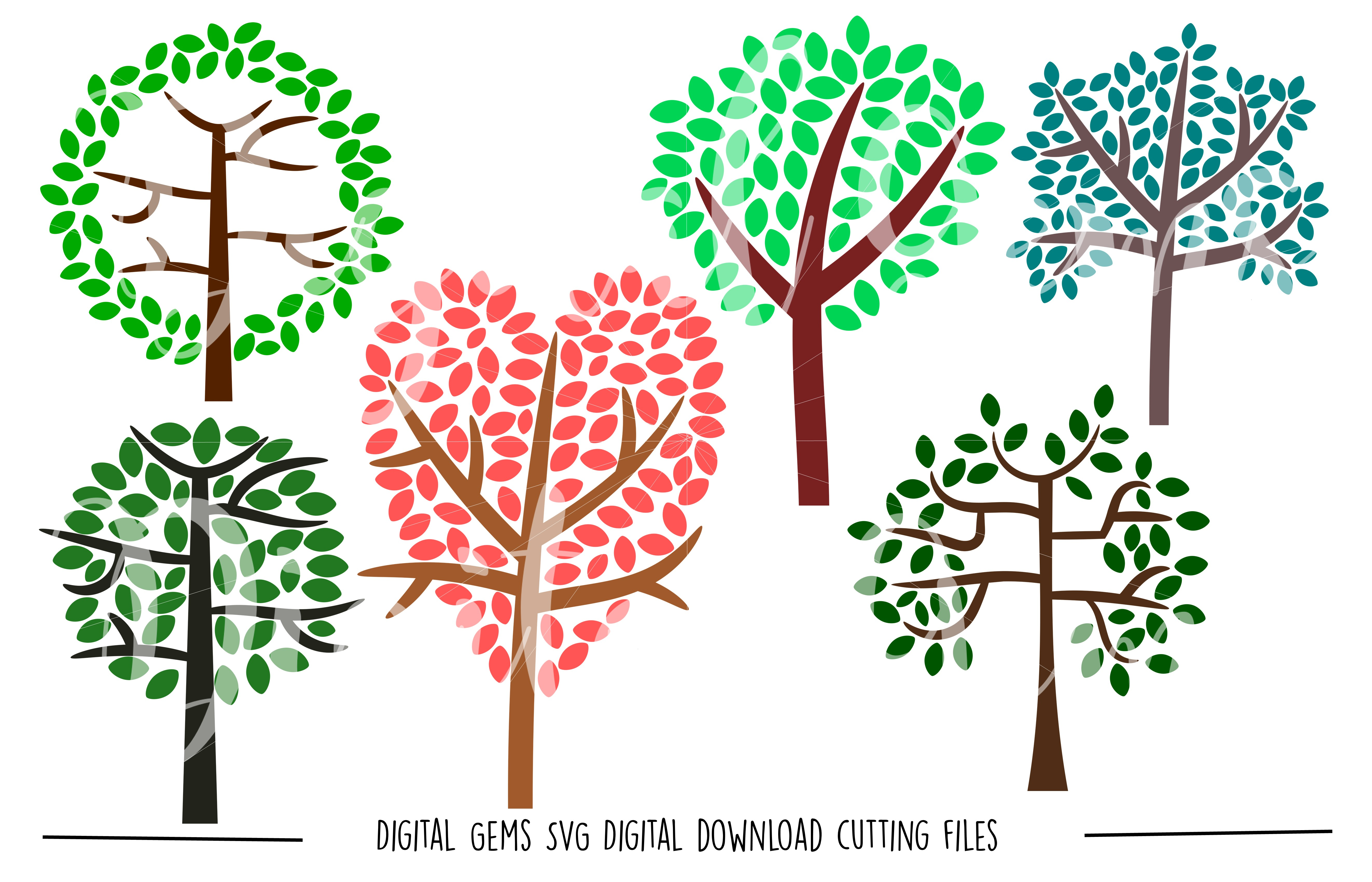Tree SVG / DXF / EPS / PNG files example image 1
