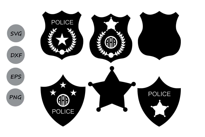 Police badge sheriff. Svg monogram clipart vector