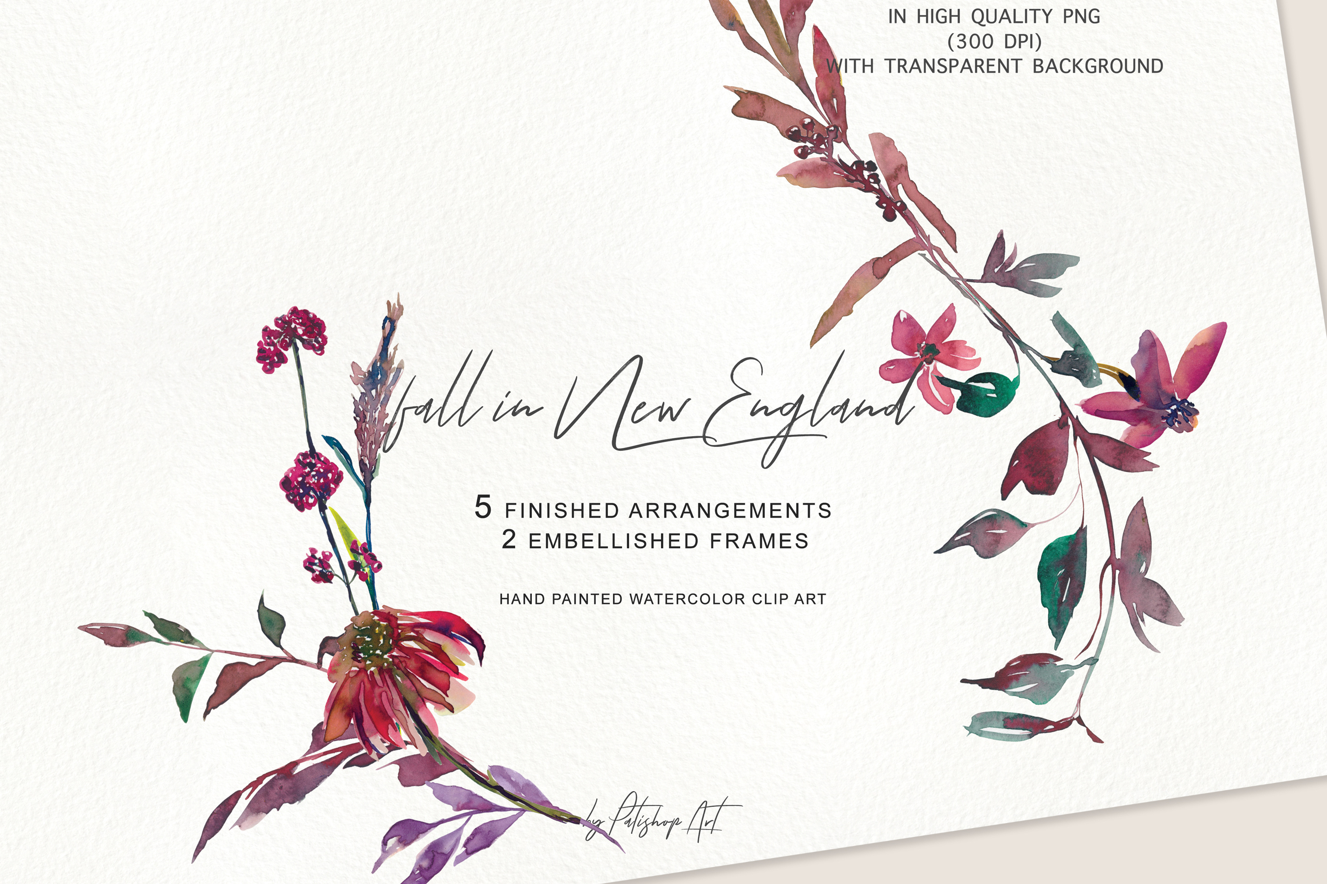Watercolor Fall Twigs Herbs Flowers Arrangements Clipart example image 5
