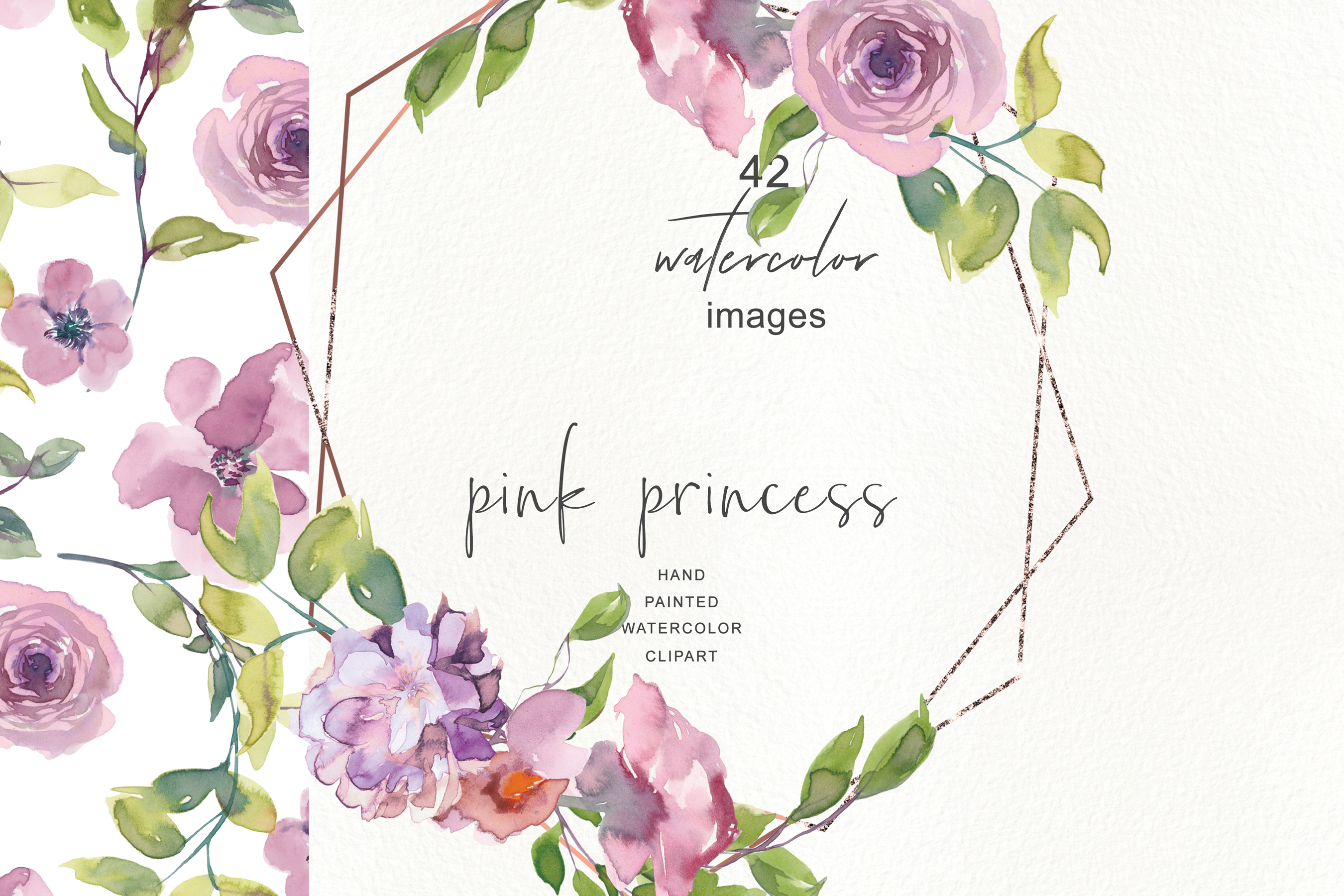Watercolor Mauve Rose Clipart Floral Frame Collection