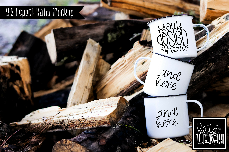 Three Stack White Campfire Mug Mockup Bundle example image 7