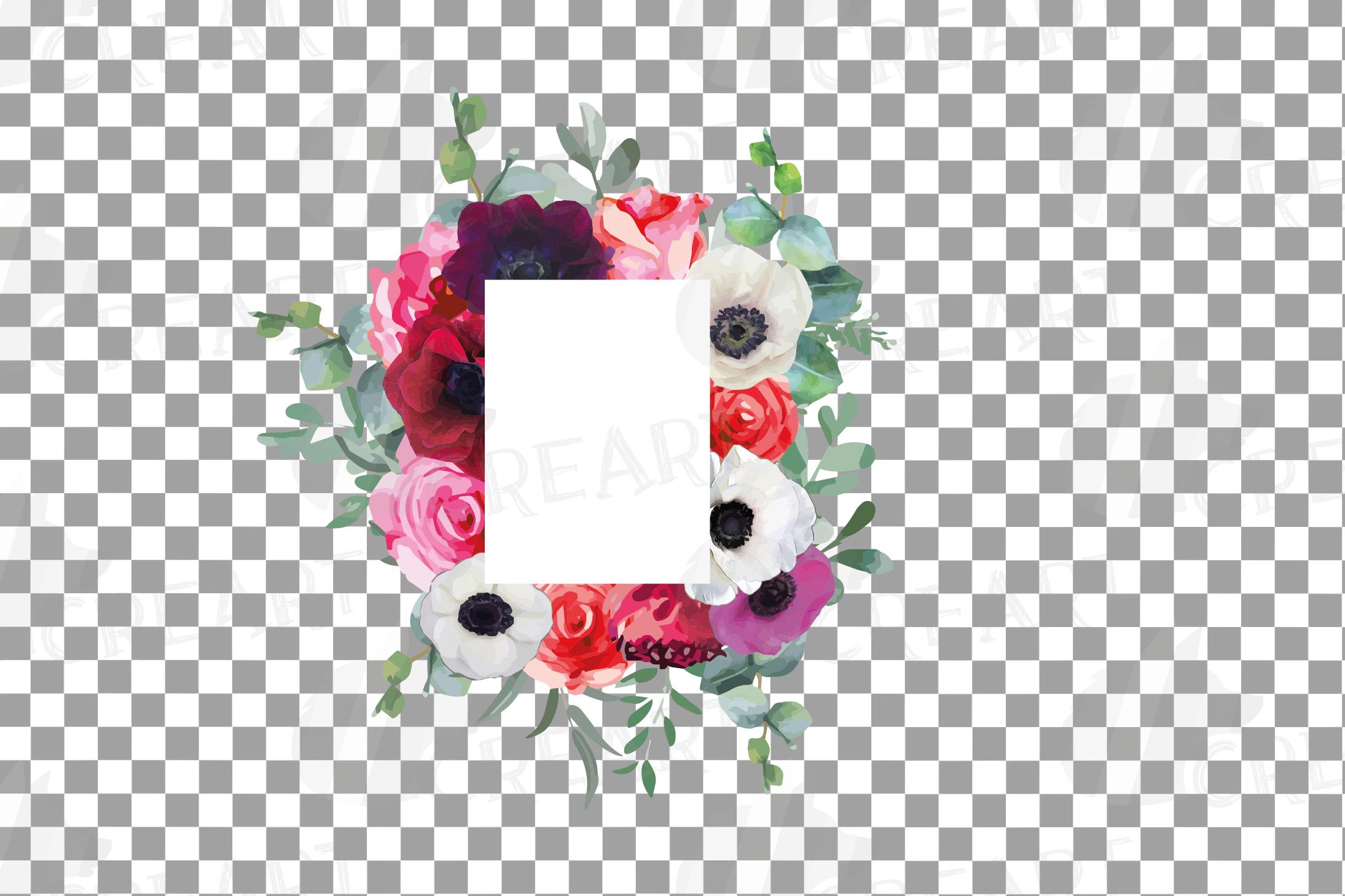 Watercolor elegant floral borders, rose, anemone frames example image 17