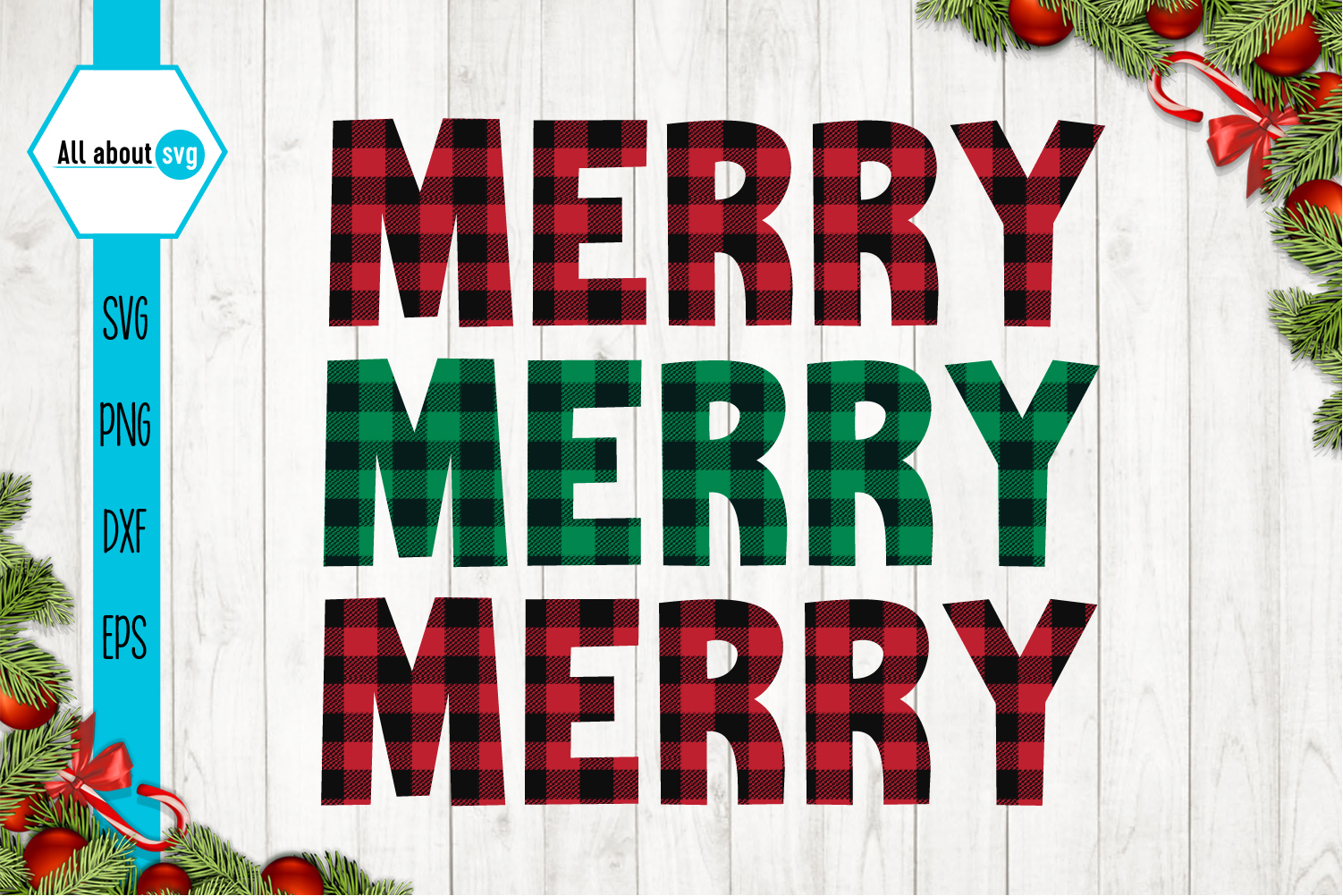 Merry Merry Merry Christmas Plaid Svg example image 2
