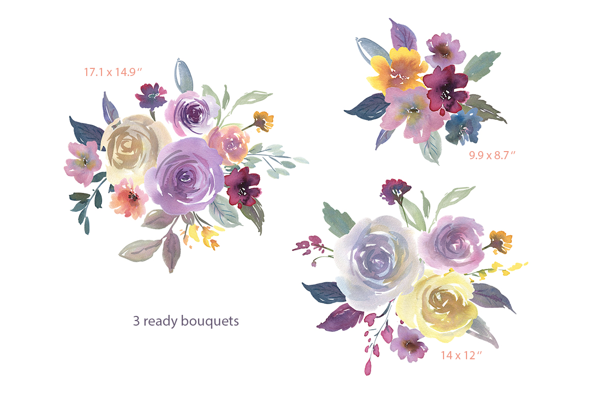 Watercolor Light Violet Flowers and Bouquets PNG example image 3
