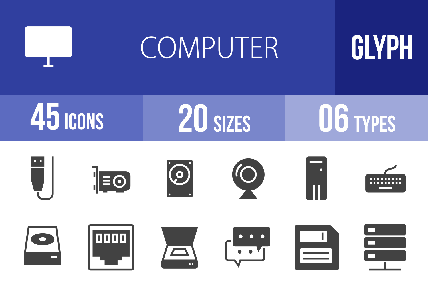 45 Computer Glyph Icons example image 1