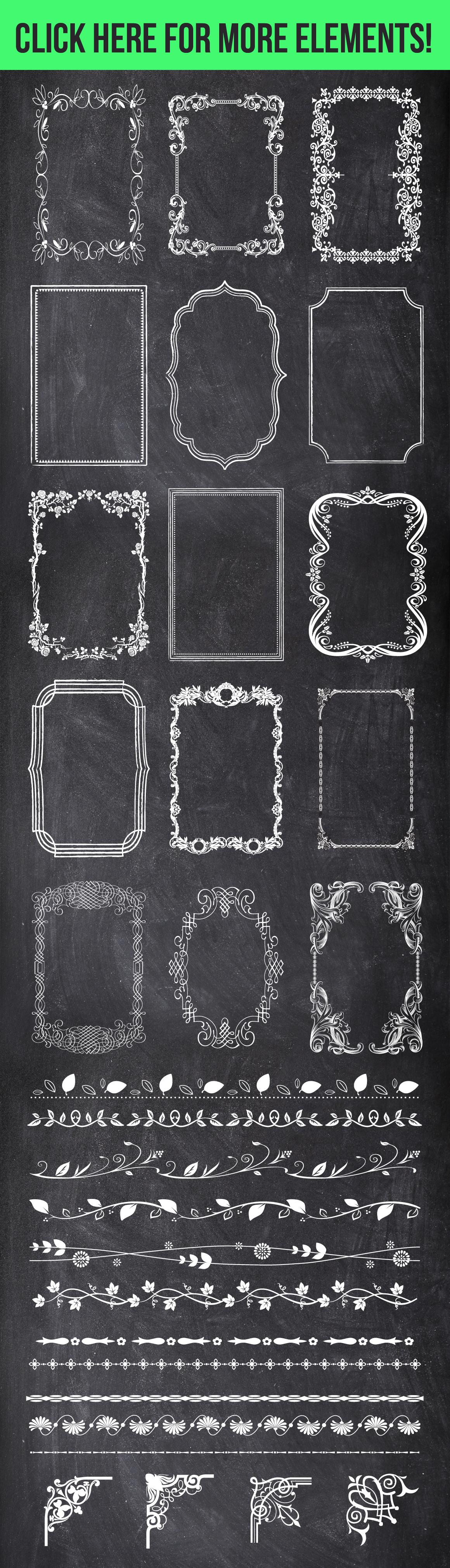 100 Chalk Elements Mega Bundle example image 3