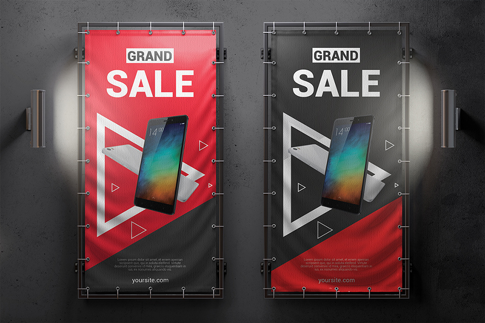 Vertical Outdoor Advertising Banner Mockup example image 4