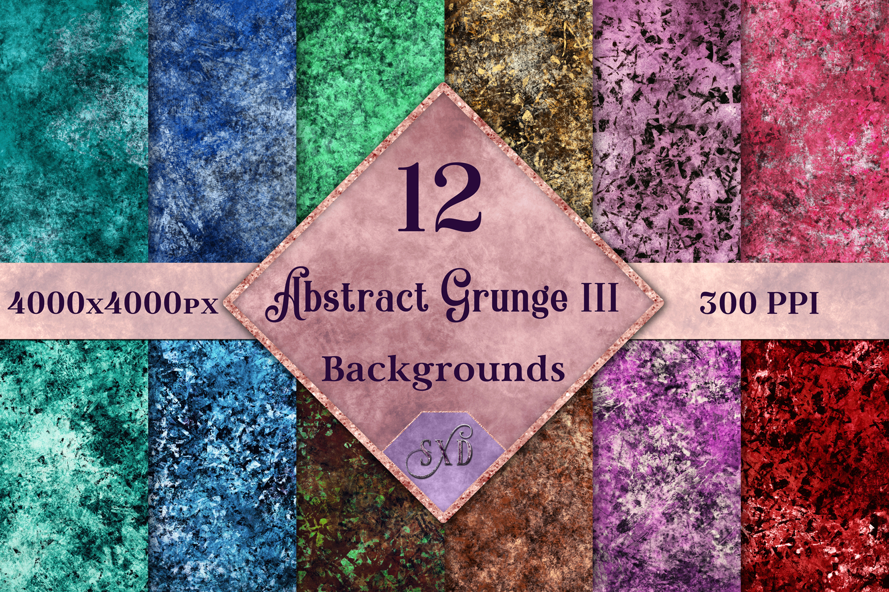 Abstract Grunge III Backgrounds - 12 Image Textures Set example image 1