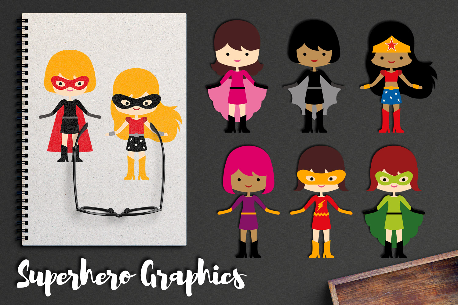 More girl superhero clipart graphics / superheroes girls example image 1